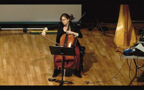 """Maggie Parkins, a featured celloist, plays a piece entitled """"Sistere"""" in a video from 2017 at Pomona College's Ussachevsky Memorial Festival of Electro Acoustic Music held online Sunday. Due to pandemic restrictions, organizers of the 29th annual edition of the festival put together a retrospective film of past performances that debuted online. / screenshot by Rachel Kendrick"""