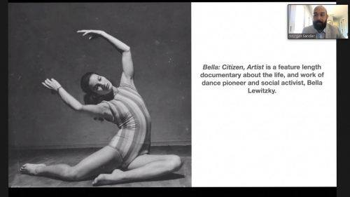 """Morgan Sandler, associate professor of digital film production, talks about his in-progress documentary on dancer and activist Bella Lewitzky called """"Bella: Citizen, Artist"""" Tuesday at the faculty lecture held via Zoom. / screenshot by Maddie Ybarra"""