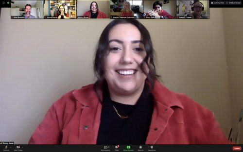 Monica Rosas, a 2020 graduate of the University of La Verne, shares her original poetry and discusses how poetry gave her a voice at the second Spring Student Poetry Series reading April 16 via Zoom. Sean Bernard, professor of creative writing; Emma Garcia, junior creative writing and psychology major; Angela Thomson-Brenchley, adjunct professor of creative writing; Masa Shah, junior psychology major; and Hannah Cockash, junior creative writing major, applaud for Rosas as she finishes reading her poetry. / screenshot by Melody Blazauskas