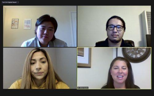 Elleni Koulos, director of counseling and psychological services, joined by professional therapists Bradley Geske, Nicole Hernandez and John Hana, hosts an online panel for the weekly Mental Health Mondays series May 10. Students were given the opportunity to ask questions about the processes of psychological therapy and whether it was right for them. / screenshot by Rachel Kendrick