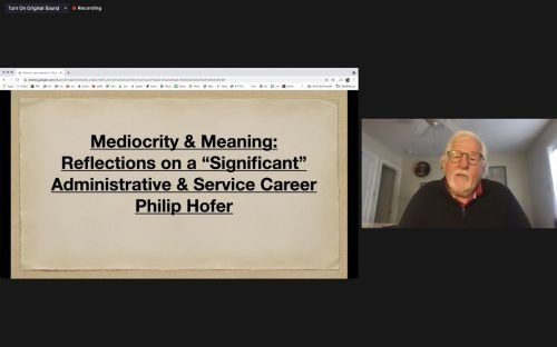 Philip Hofer, administrator emeritus, lectures on finding meaning and growth in places that are viewed as mediocre or average on Tuesday at his last lecture. Hofer, who worked at the University of La Verne for 14 years, was invited back to give his last lecture as part of the faculty lecture series nine years after he retired. / screenshot by Rachel Kendrick