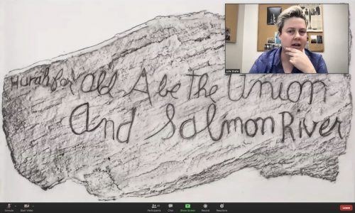 Conceptual photographer Julie Shafer holds an artist conversation via Zoom on May 6. They went into depth about their landscape series in the talk hosted by the photography department. / screenshot by Melody Blazauskas