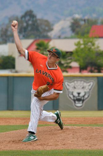 La Verne sophomore pitcher Gerald Terry started game one of the doubleheader Saturday against Redlands. Terry earned his first win of the season after pitching five innings, allowing two earned runs, and striking out six batters. The Leopards beat the Bulldogs, 14-8, and swept the doubleheader to finish the pandemic-shortened season at 4-5. / photo by Emily Alvarez