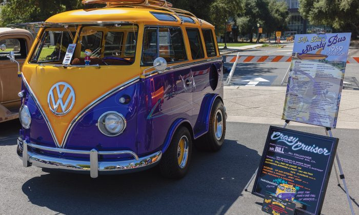 A blue and yellow 1959 Volkswagen Deluxe 23-window bus owned by Bill Stellmacher of Diamond Bar was one of hundreds of classic cars displayed at the 27th annual Cool Cruise Car Show on Saturday in downtown La Verne. The event featured more than 800 classic cars dating back to the 1930s, as well as food, music and other family activities. / photo by Jingyao Liang