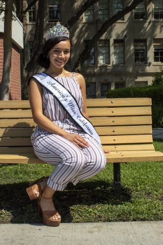 Mariah Lora, senior English major and point guard for the women's basketball team, has won the title of America's Miss California 2021. Lora said she wants to show others that they do not have to look a certain way to participate in pageants. / photo by Litsy Tellez